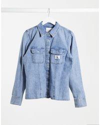 Calvin Klein Выбеленная Джинсовая Рубашка С Логотипом -синий