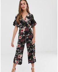 AX Paris Floral Culotte Jumpsuit - Black