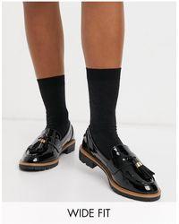 New Look Черные Лакированные Лоферы Для Широкой Стопы На Массивной Подошве -черный Цвет