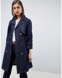 Lyst - Mango Premium - Cupro-blend Houndstooth Trench in Blue 8429fb2b7927