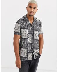 Only & Sons Short Sleeve Revere Collar Bandana Print Shirt - Black