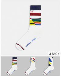Tommy Hilfiger Три Пары Белых Носков С Принтом В Виде Брызг Краски В Подарочной Упаковке Tommy Jeans-многоцветный - Белый