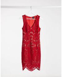 Bardot Lace Placement Mini Dress - Red