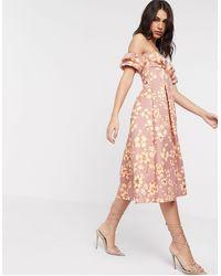 ASOS Floral Bandeau Bubble Sleeve Prom Midi Dress - Pink