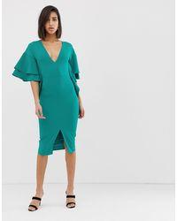Lavish Alice exaggerated Frill Sleeve Midi Dress - Green