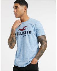 Hollister Синяя Футболка С Логотипом -синий