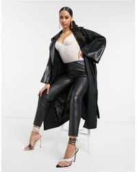 UNIQUE21 Double Breasted Trench Coat - Black