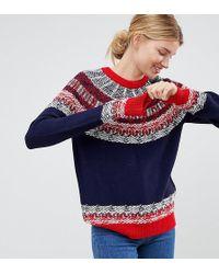 ASOS Asos Design Tall Sweater In Vintage Fairisle - Blue