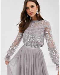 Needle & Thread Blusa ricamata con bottoni e maniche trasparenti grigia - Grigio