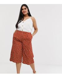 Simply Be Culottes In Rust With White Polka Dots - Multicolor
