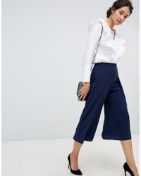 Oasis - Wide Leg Culottes In Navy - Lyst