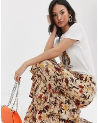 Glamorous Tiered Maxi Skirt In Autumn Floral - Multicolour