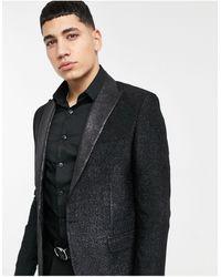 Bolongaro Trevor Glitter Satin Lapel Skinny Blazer-black