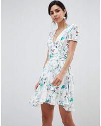 Oh My Love Short Sleeve Printed Tea Dress - Blue