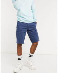 BOSS by Hugo Boss Schino - Dubbelgeverfde Slim-fit Shorts Met Stretch - Blauw