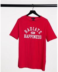 "New Look Красная Oversized-футболка С Надписью ""radiate Happiness"" -красный"