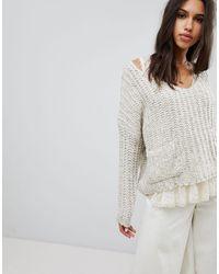 Raga Lazy Dayz Chunky V Neck Sweater - Natural
