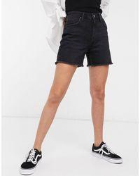 Lee Jeans Lee High-rise Denim Mom Shorts With Raw Hem - Black