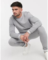 ASOS Organic Tracksuit With Striped Rib - Grey