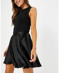 Flounce London Flippy Wrap Satin Mini Skirt With Tie Waist - Black