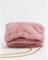 Oasis Faux Fur Fold Over Clutch Bag - Pink
