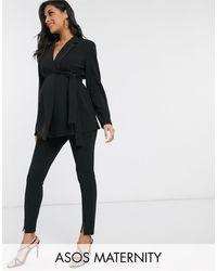 ASOS Asos Design Maternity Jersey Slim Split Front Suit Pants - Black