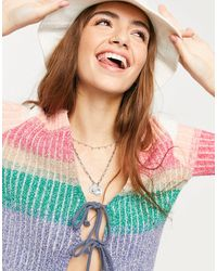 Free People Trouble Maker Cardigan With Tie Front - Blue