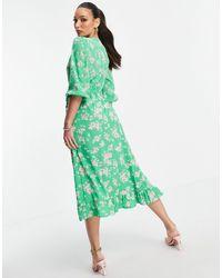 New Look Зеленое Платье Миди С Запахом И Цветочным Принтом -зеленый Цвет
