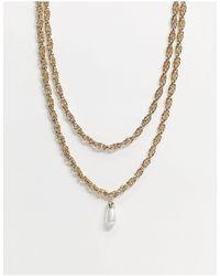 TOPSHOP Collier multi-rangs torsadé avec pendentif perle - Métallisé