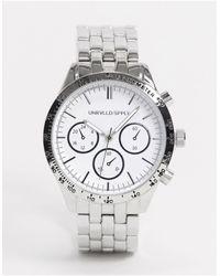 ASOS - Серебристые Массивные Наручные Часы С Белым Циферблатом - Lyst