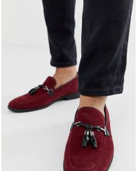 ASOS Loafers In Burgundy Faux Suede With Tassel
