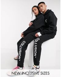Collusion Joggers unisex con logo en - Negro