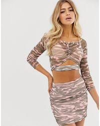 ASOS Top en tulle motif camouflage froncé sur le devant style Bardot (ensemble) - Multicolore