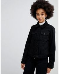 Chorus Boxy Denim Jacket With Teddy Trims - Black