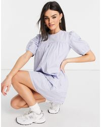Warehouse Pintuck Puff Sleeve Mini Dress - Blue