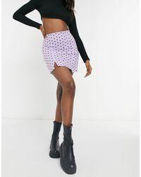 TOPSHOP Polka Dot Notch Detail Mini Skirt - Multicolor