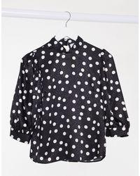 Closet Blusa accollata nera a pois con maniche a palloncino - Nero