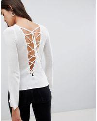 Glamorous Lace Up Back Sweater - White