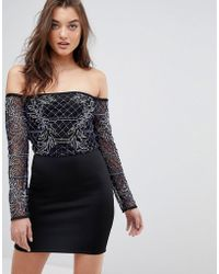 ASOS - Asos Bardot Long Sleeve Mini Embellished Dress - Lyst