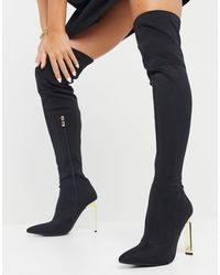 SIMMI Shoes Simmi London Liane Stretch Over The Knee Boots With Gold Heel - Black