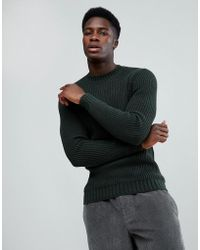 Mango - Man Chunky Knit Jumper In Forest Green - Lyst