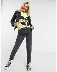 Daisy Street T-shirt comoda tie-dye con stampa Wu-Tang - Giallo