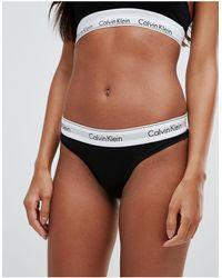 Calvin Klein Хлопковые Стринги -черный