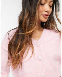 Fashion Union - Укороченный Пушистый Кардиган От Комплекта -розовый Цвет - Lyst