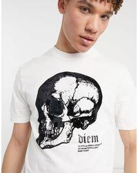 River Island - – es T-Shirt mit Totenkopf-Print - Lyst