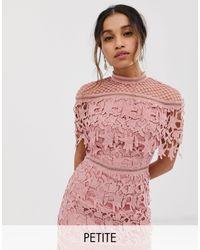 Chi Chi London High Neck Lace Pencil Midi Dress - Red