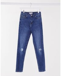 Urban Bliss High Waisted Skinny Jean With Knee Rips - Blue