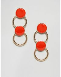 ASOS Asos Disc & Hoop Link Earrings - Orange