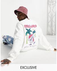 Reclaimed (vintage) Inspired - Sweat-shirt en coton biologique à imprimé graphique canette - Blanc