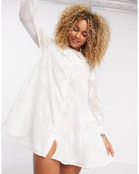 Object Smock Dress With Collar Detail - White